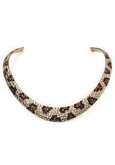 Leopard Print Crystal Cuff Necklace | Fabulous-Furs