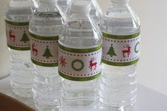FREE printable Christmas party water bottle labels
