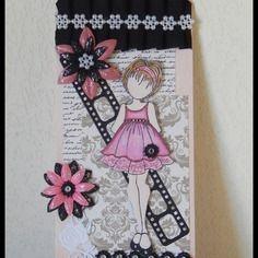 Carte tag étiquette prima doll chic pour anniversaire ou tout autre occasion