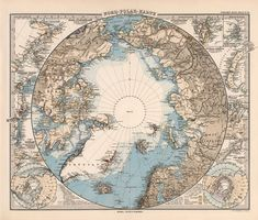 Arctic Ocean On Flat Map arctic ocean map with north pole and