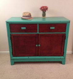"Turquoise Rustic Bar Cabinet or Dresser- Shabby Chic Furniture, Distressed, rustic, Annie Sloan Chalk Paint ""Florence"" and ""old white"" by Furniture Alchemy"