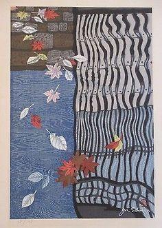 JUNICHIRO SEKINO VINTAGE HUGE JAPANESE WOODBLOCK PRINT MODERNISM FALLING LEAVES