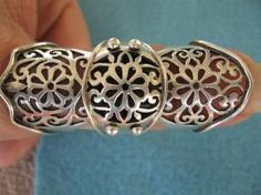 AMAZING STERLING SILVER JOINTED FULL FINGER RING, FREE SHIP!