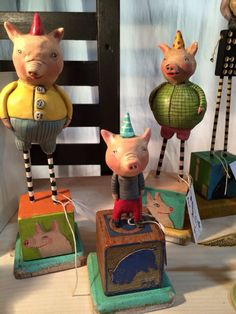 Pigs. Polymer clay by Mary-Lynne MoffattArt