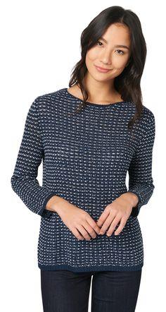 Zweifarbiger Pullover für Frauen (zweifarbig, langärmlig mit Rundhalsausschnitt) - TOM TAILOR