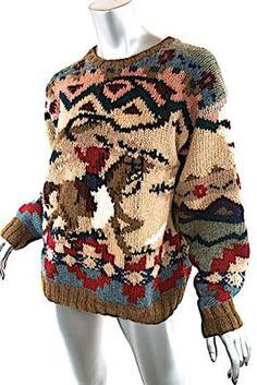 Ralph Lauren Multi 100 Wool Hand Knit Sweater Cowboy Lasso Horse LRG Amazing | eBay