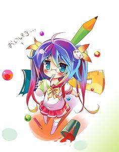 Cute chibi anime girl.