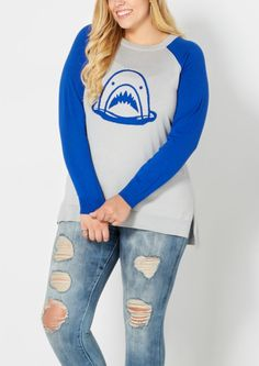 image of Plus Shark Attack Raglan Sweater