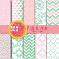 Pink and mint digital paper mint pink backgrounds by GemmedSnail, $4.00
