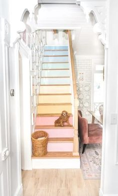 Reveal of my rainbow stairs! Ready to see my staircase makeover?! This is a DIY project with wood oak treads and painted raisers to look like a pastel rainbow. I wanted a modern and unique design. These stairs used to have carpet. After that it was a second layer of stairs. The decor is looking much better with a simple railing and then pastel rainbow risers Home Decor Kitchen, Home Decor Bedroom, Diy Wood Projects, Home Projects, Stair Posts, Staircase Makeover, Bring Them Home, Diy Home Repair, Wood Stairs