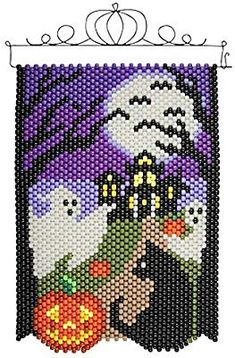 Pony Bead Patterns, Perler Patterns, Beading Patterns, Kandi Patterns, Halloween Beads, Halloween Jewelry, 50 Diy Christmas Decorations, Cross Stitch Embroidery, Cross Stitch Patterns