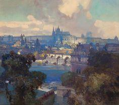 Jaroslav Setelik (1881-1955) - View on Prague, oil on canvas, 63 x 70,5 cm.