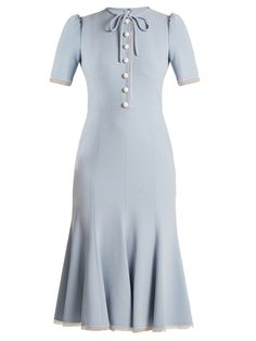 Dolce & Gabbana Short-sleeved Fluted-hem Cady Dress In Light Blue Light Blue Summer Dress, Blue And Gold Dress, Pale Blue Dresses, Blue Gold, Blue Lace, Navy Blue, Gold Embellished Dress, Gold Party Dress, Party Dresses