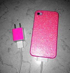 Hot pink iPhone case with matching charger