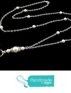 Women's Fashion ID Badge or Key Lanyard Necklace with White Swarovski Pearls and Silver Textured Chain from By Brenda Elaine Jewelry https://www.amazon.com/dp/B01LZTT4IX/ref=hnd_sw_r_pi_dp_QJB7xbKQV3G8X #handmadeatamazon