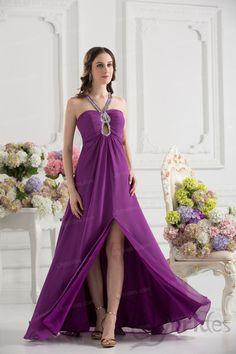Sheath/Column Halter Satin Chiffon Floor Length Prom Dress