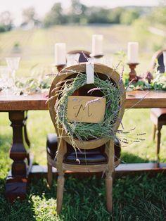 lavender wreath chair sign http://www.weddingchicks.com/2013/10/01/romantic-wedding-inspiration/