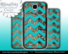 Camo Aqua Chevron Galaxy S4 case S5 Real Tree Camo Deer Personalized Monogram Samsung Galaxy S3 Case Note 2 3 Cover by BlingSity