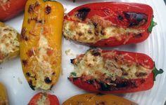 Feta Stuffed Peppers - I didn't use enough feta and the yogurt came through too strong. Still delicious, but with more feta, these could be amazing. Vegetarian Appetizers, Appetizer Recipes, Vegetarian Recipes, Cooking Recipes, Healthy Recipes, Delicious Recipes, Feta Stuffed Peppers, Stuffed Pepers, Grilled Peppers