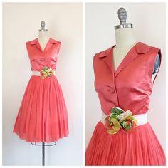 años 50 Vestido de fiesta coral / años 1950 por CheshireVintageShop