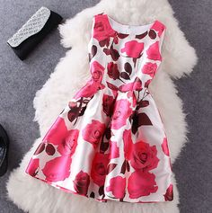 2014 Autumn New Arrival Ladies Elegant Dress Fashion Sleeveless Rose Flower Print Cute Party Aline Dress Tank Dress Red/Blue Casual Dresses, Short Dresses, Fashion Dresses, Girls Dresses, Prom Dresses, Summer Dresses, Women's Fashion, Fashion News, Pretty Dresses