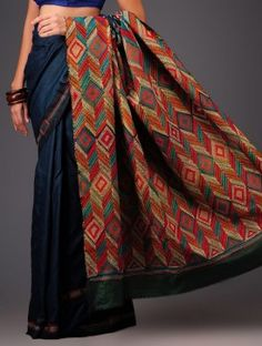 Royal Blue Tussar Silk Kantha Embroidered Saree