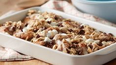 Ooey gooey cinnamon roll pull-aparts and s'mores come together in this indulgent bubble-up bake, sure to become a breakfast favorite.