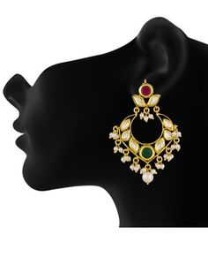 kundan pearls multi color hangings to give you a fresh look