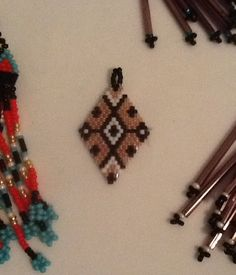Diamond delica beaded earring