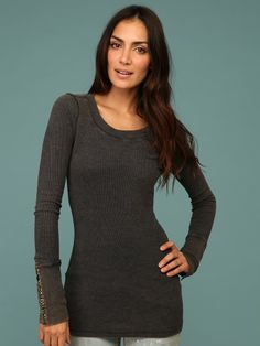 Free People Studded Cuff Thermal, Charcoal