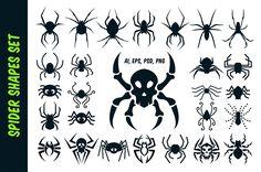 Spider Vector Shapes for Halloween Skull Silhouette, Silhouette Tattoos, Bat Vector, Vector Shapes, Halloween Fonts, Halloween Design, Biker Tattoos, Tribal Tattoos, Henna Tatoo