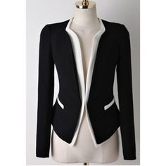 Casual Splicing Contrast Color Long Sleeve Blazer For Women, BLACK, M in Blazers | DressLily.com