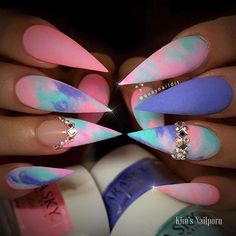 Matte colorful coral purple tie dye stiletto nails