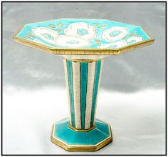 Turquoise, gold and white French Art Deco LONGWY comport or tazza