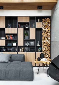 Amazing 32 Extraordinary Bookshelf Design Ideas To Decorate Your Home More Beautiful Wood Bookshelves, Bookshelf Design, Wooden Shelves, Black Bookshelf, Modern Bookcase, Creative Bookshelves, Fireplace Shelves, Shelving Design, Bookshelf Ideas