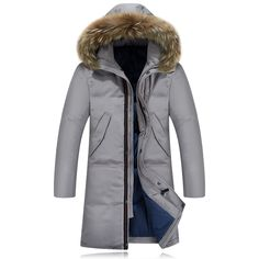 Winter Jacket Men New Extra long Duck Down Snow Warm Thicken X-Long Clothing Casual Fur Hooded Jacket Coat A3174