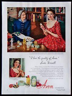 vintage avon ads   Vintage 1952 Avon Cosmetics Magazine Ad with Linda Darnell