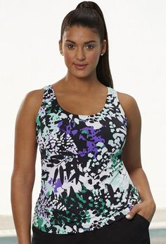 SwimsuitsForAll - Aquabelle Chlorine Resistant Lilypad Sport Top - AdoreWe.com