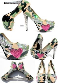 Browning Camouflage Platform Pumps Hand Painted with Swarovski Crystals