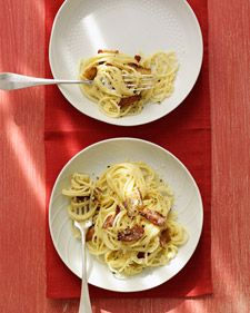 A carbonara sauce is typically made with bacon, eggs, and cheese. We've added a little half-and-half for a silky texture.