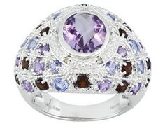 2.30ct Orchid Amethyst With 2.33ctw Multi Color Gemstones And White Diamond Sterling Silver Ring