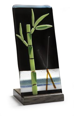 Items similar to Fused Glass Lucky Bamboo Candle Holder on Etsy