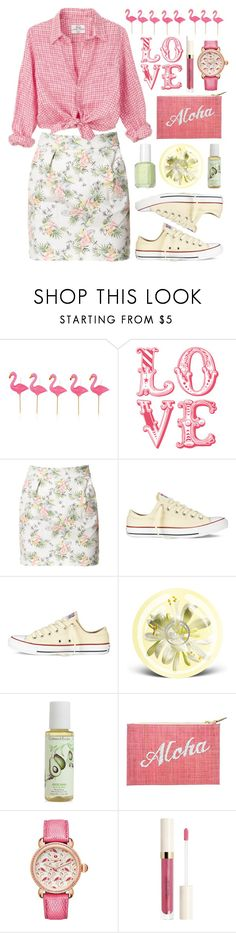 """Flamingo Spring Love"" by snorkfroeken ❤ liked on Polyvore featuring Sunnylife, WALL, Zara, Essie, Converse, The Body Shop, Crabtree & Evelyn, Kayu and Michele"