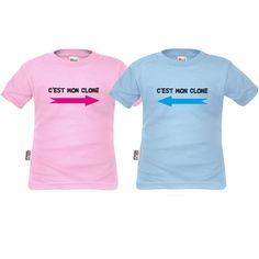 Tee shirts enfant jumeaux : c'est mon clone - Jumelles - SiMedio