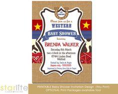 Or invite option 3 ? Western theme Baby Shower invitation  5x7 size Burlap by starwedd, $20.00