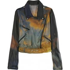 Explosions in the sky chiffon biker jacket - by Christopher Kane. 385,00€