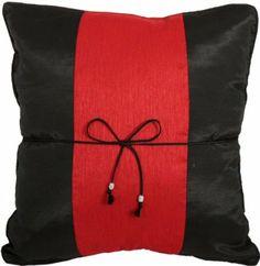 "Amazon.com - Artiwa Black & Red 16""x16"" Sofa Bed Decorative Silk Throw Pillow Cover Gift Idea -"