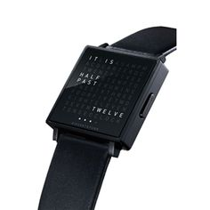 Biegert And Funk - QLOCKTWO W - Black Stainless Steel     The world's first wristwatch in words  In a square there is a grid of 110 letters. When the stainless steel button is pressed, words light up in unexpected places which describe the time. Whenever you look at your QLOCKTWO W, it´s a new experience. Black Stainless Steel, My Style, Pitch, Matte Black, Futuristic, Grid, Loft, Letters, Button