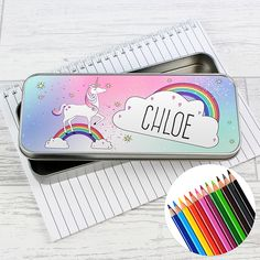 This stylish Unicorn Pencil Tin is an ideal gift to help keep their stationery safe and sound! This cute pencil tin can be personalised with a name up to 12 characters long. All text will appear in upper case. The Pencil Tin comes supplied with 12 colouring pencils (these will not be personalised). Ideal for Back to School, Birthdays and Christmas.