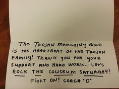 Ed Orgeron thanks USC band with hand-written letter to every member